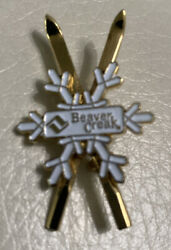 Beaver Creek Snowflake Gold Cross Ski Label Hat Pin Enamel $12.00