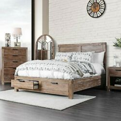 Contemporary Rustic Solid wood Eastern King Size Bed Storage FB Gorgeous Bedroom $1199.99
