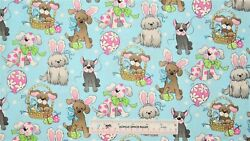 Spring Easter Holiday Pups Blue Dog Dogs Cotton Fabric BTY E ^ $11.99