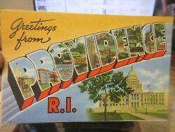 Vintage Old Postcard RHODE ISLAND Greetings from Providence Large Letter Bubble $1.98