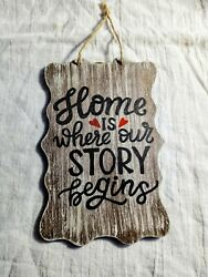 Farmhouse Rustic Decor quot;Home Is Where Our Story Beginsquot; Wall Art Hanging Sign $9.49