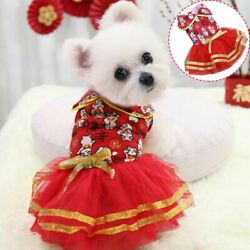 Pet Dogs Cats Clothing Winter Warm Skirt Puppy Dog Accessories New Year Dresses $8.80