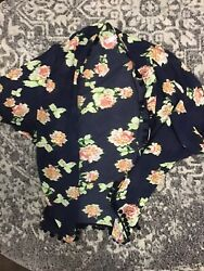 Xhilaration Womens Cover Up Sheer Navy Blue Floral Open Cardigan XS $3.99