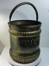 Vintage Large Brass Copper Bucket Log Holder 13 inches High 11 inches Dia $89.75