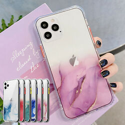 For iPhone 12 Pro Max 11 XS XR 8 7 Marble Bling Case Clear Shockproof Hard Cover $7.91