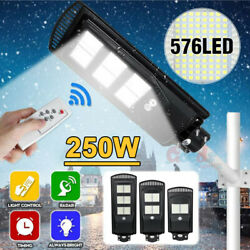 250W Solar Street Light Ultra Bright 990000LM Commercial Outdoor Road LampPole