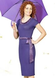 PARTY DRESS COCKTAIL WEAR TO WORK SUMMER STRETCH PURPLE MADE IN EUROPE M L $69.00