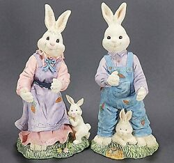 Mr. and Mrs. Easter Bunny Rabbit Resin Decor Figurines $9.00