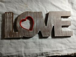 Farmhouse Rustic Decor Love Wall Art Hanging Sign Red Heart $11.95