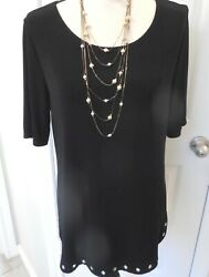 Chico's Travelers Little Black Dress Stretch Party Dress Short Sleeves Size 1 $23.00