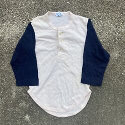 Vintage 80s Blank Champion Two Toned Henley Shirt Size Small 6 8 $29.95