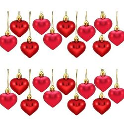 24PCS Heart Shaped Baubles Heart Valentine#x27;s Day Ornament Hanging DIY Decoration $14.50