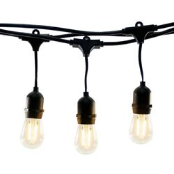 Hyperikon Commercial String Light Weatherproof 48ft 24 LED Bulbs