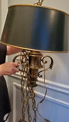 Stiffel Vintage Colonial Revival Hanging Brass Lamp Chandelier With Shade $325.00