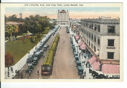 CB 208 CA Long Beach Pacific Ave and City Hall Linen Postcard Old Cars Trolley $25.00