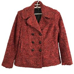Robert Kitchen Canada Womans XL Red Double Breasted Pea Coat $40.00
