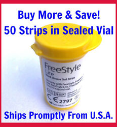 FreeStyle LITE 50 Blood Glucose Test Strips MARCH 2022 sealed vial no box $23.99