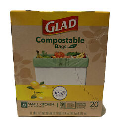 Glad Compostable Bags Lemon Febreze Freshness 20 pk Flat Top Small Kitchen Bags $15.00