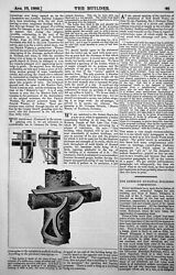Antique Print Iron Saddle Arm Used Germany Fixing Cross Poles Scaffing 1889 GBP 16.00