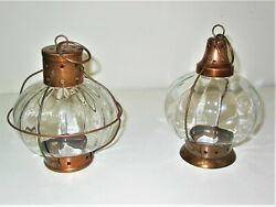 Pair Hanging Metal and Glass Candle Lanterns 9quot; tall x 7quot; diam. $24.00