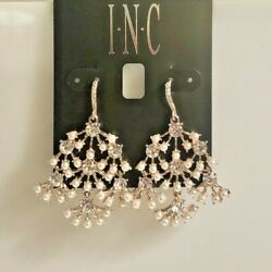INC Rose Gold Tone Pearl amp; Crystal Chandelier Earrings 1.5quot; NEW NWT 34.50 $9.60