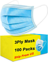 100 PCS Blue Face Mask Mouth amp; Nose Protecting Families Easy Safe with Filter $13.99