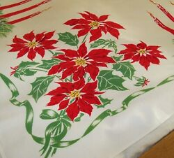 Vintage Mid Century Modern California Hand Prints Christmas Tablecloth MINT $49.95