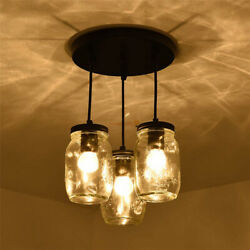 Industrial Mason Jar Chandelier Glass Kitchen Island Pendant Lighting Fixture US $68.99