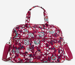 VERA BRADLEY Factory Style Medium Traveler Bag in BLOOM BERRY $59.99