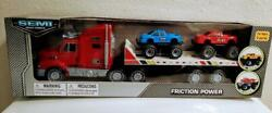 Friction Power Semi Truck Car Carrier with 2 Off road Monster Trucks Models $21.99