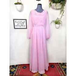 Vintage 1970s Baby Pink Chiffon Long Sleeve Maxi Dress Size 2 $125.00