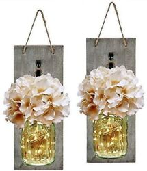 Mason Jar Wall Decor Sconces Rustic Hanging LED Fairy Lights Farmhouse Home New $24.91