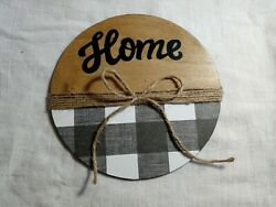 Farmhouse Rustic Decor quot;Homequot; Buffalo Plaid Twine Decorative Wall Hanging Sign $11.79