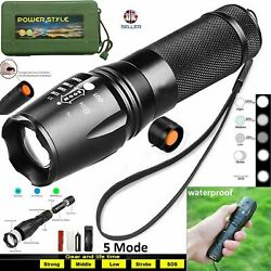 Tactical 90000LM XML T6 Super Bright ZOOM LED Flashlight Rechargeable USB case GBP 10.99