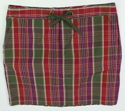 Chaps size 14 plaid straight pencil skirt short red purple green pockets $15.96
