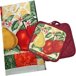 Fruit Pear Apple Kitchen Theme Towel with Matching Hot Pad Set $12.99