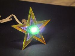 Glo Star Christmas Tree Topper Glow Lighted Lucite Vintage Yellow Blue Green $35.10