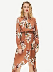 C012 Korean Women#x27;s Fashion Floral Print Chiffon Long Sleeve Maxi Dress Orange $29.99