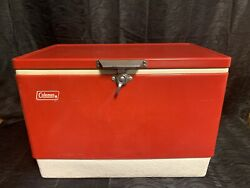 Vtg 22quot; Wide 70s Red Metal Coleman Cooler Chest with Handles Camping Props $135.00