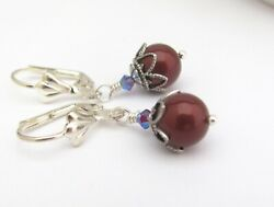 Pearl Earrings using Swarovski Crystal Pearl Winter Berry Holiday Christmas Gift $13.50