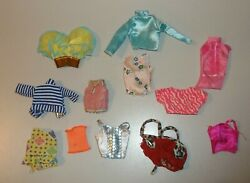 Barbie Doll Clothes 12 Shirts Striped Pink Blue More $5.99