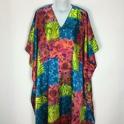 Vintage Barbizon One Size Kimono House Dress Kaftan MuuMuu Maxi Plus 35quot; Bust $29.99