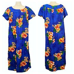Vintage 70s Made In Hawaii Muu Muu Blue Floral Maxi Plus Size 18 Dress $48.00