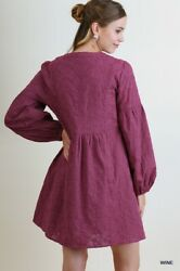 LIQUIDATING UMGEE Boho Dress Mauve Wine Floral Embroidered Bishop Sleeves $14.00
