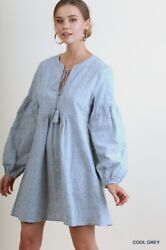 LIQUIDATING UMGEE Boho Dress Gray Floral Embroidered Print SM or MD $14.00