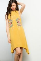 LIQUIDATING THML Mustard Yellow Embroidered Boho Dress MD or LG New $16.00