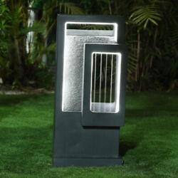 Outdoor Fountain Waterfall Wall With Lights Gray Cement Electric Floor Modern $309.09