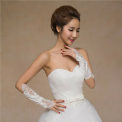 Women#x27;s Wedding Lace Embroidery Bridal Gloves Fingerless For Wedding Prom Party $7.67