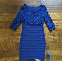 Adrianna Papell Women#x27;s Dress Navy Blue Cocktail Size 6 Sheath $18.00