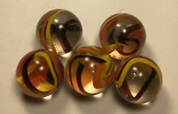 "Five Vintage Vacor ""Sunflower"" Marbles. All Approx .63"" In Mint Conditiom. $20.00"